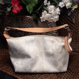 Coach white/tan mini bag evening bag purse